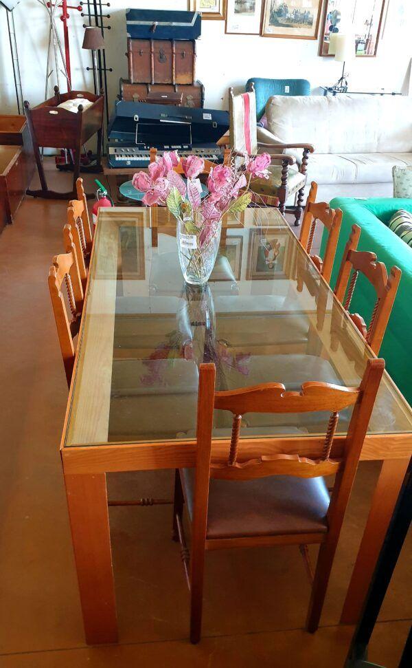 Tavolo in cristallo rettangolare